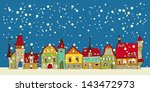 christmas card with cute little ... | Shutterstock .eps vector #143472973
