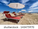 umbrellas and sunbeds in rimini ... | Shutterstock . vector #143475970