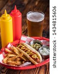 Hot Dog In Basket With Draft...