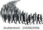 big crowd of people go queue.... | Shutterstock .eps vector #1434823406