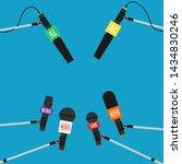 microphones on long stick...   Shutterstock .eps vector #1434830246