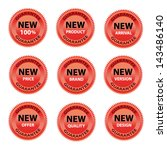 red labels guarantee set of new ... | Shutterstock .eps vector #143486140