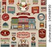 collection of restaurant design ... | Shutterstock .eps vector #143488930