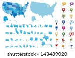 usa  highly detailed map.all... | Shutterstock .eps vector #143489020