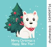 Stock photo vector christmas icon animal dog west white terrier background dog breed west white terrier on the 1434909716