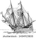 sailing ship vintage frigate on ...   Shutterstock .eps vector #1434915833