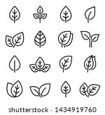 eco set of black line leaf... | Shutterstock . vector #1434919760
