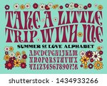 A psychedelic 1960s style hippie alphabet; also includes flower graphics