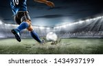 Small photo of football soccer player kicking in action in blue team euro cup, Africa nations cup ,world cup ,France ,Brazil ,Italy