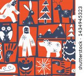 Vector blue orange and white folk art Yeti with winter forest critters seamless pattern. Playful illustration perfect for wallpaper, wrapping paper, seasonal decor or children