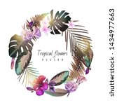 wreath of tropical flowers  can ... | Shutterstock .eps vector #1434977663