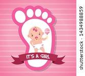 Girl Rattle Footprint Greeting...