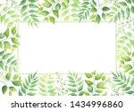 green leaves frame template....   Shutterstock .eps vector #1434996860