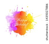 happy birthday card with blobs... | Shutterstock . vector #1435027886