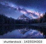 Milky Way Over Antorno Lake At...