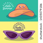 summer label with hat female... | Shutterstock .eps vector #1435079186