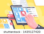 flat isolated hand with online... | Shutterstock .eps vector #1435127420