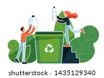 man and woman throwing plastic...   Shutterstock .eps vector #1435129340