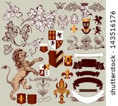 vector set of luxury royal... | Shutterstock .eps vector #143516176
