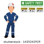 an industrial worker with... | Shutterstock .eps vector #1435242929