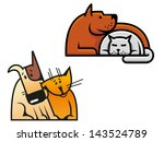 Stock vector friendship of dog and cat for concept of pets design or idea of logo jpeg version also available 143524789