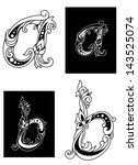 two floral letters a and b in... | Shutterstock .eps vector #143525074