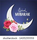 eid mubarak. islamic greeting... | Shutterstock .eps vector #1435255553