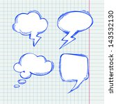set of vector chat bubbles in... | Shutterstock .eps vector #143532130
