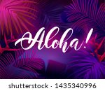 dark blue and violet tropical... | Shutterstock .eps vector #1435340996