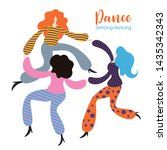stylized figures of dancing... | Shutterstock .eps vector #1435342343