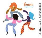stylized figures of dancing... | Shutterstock .eps vector #1435342343