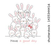 Stock vector draw vector cute rabbit with word have a nice day on white doodle cartoon style 1435344416