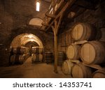 wine barrels stacked in the old ... | Shutterstock . vector #14353741