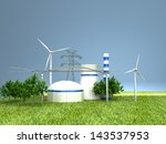 energy sources on the green... | Shutterstock . vector #143537953
