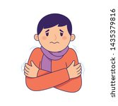 the young man hugged himself... | Shutterstock .eps vector #1435379816