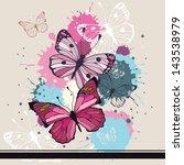 Stock vector vector background butterflies and flowers 143538979