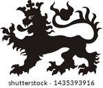 heraldic lion tattoo. black  ...   Shutterstock . vector #1435393916