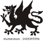heraldic dragon tattoo. dlack   ...   Shutterstock . vector #1435395596