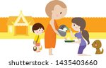 thai monk and buddhist cartoon... | Shutterstock .eps vector #1435403660