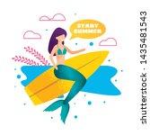 mermaid on surfboard metaphor... | Shutterstock .eps vector #1435481543