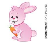 little pink rabbit with carrot... | Shutterstock . vector #143548843