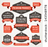vector vintage sale labels and... | Shutterstock .eps vector #143548978