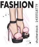 beautiful stylish women's shoes ...   Shutterstock .eps vector #1435518779