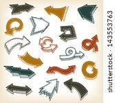 vintage hand drawn arrows ... | Shutterstock .eps vector #143553763