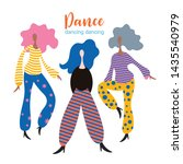 stylized figures of dancing... | Shutterstock .eps vector #1435540979