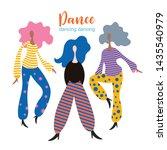 stylized figures of dancing... | Shutterstock .eps vector #1435540979