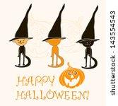 halloween vector card. vector... | Shutterstock .eps vector #143554543