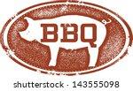 Barbecue Pork BBQ Menu Design Stamp - stock vector