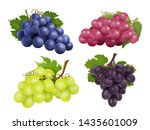 realistic grapes. set of... | Shutterstock . vector #1435601009