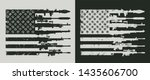Vintage military concept with rocket launcer assault and sniper rifles bullet holes in shape of american flag vector illustration - stock vector